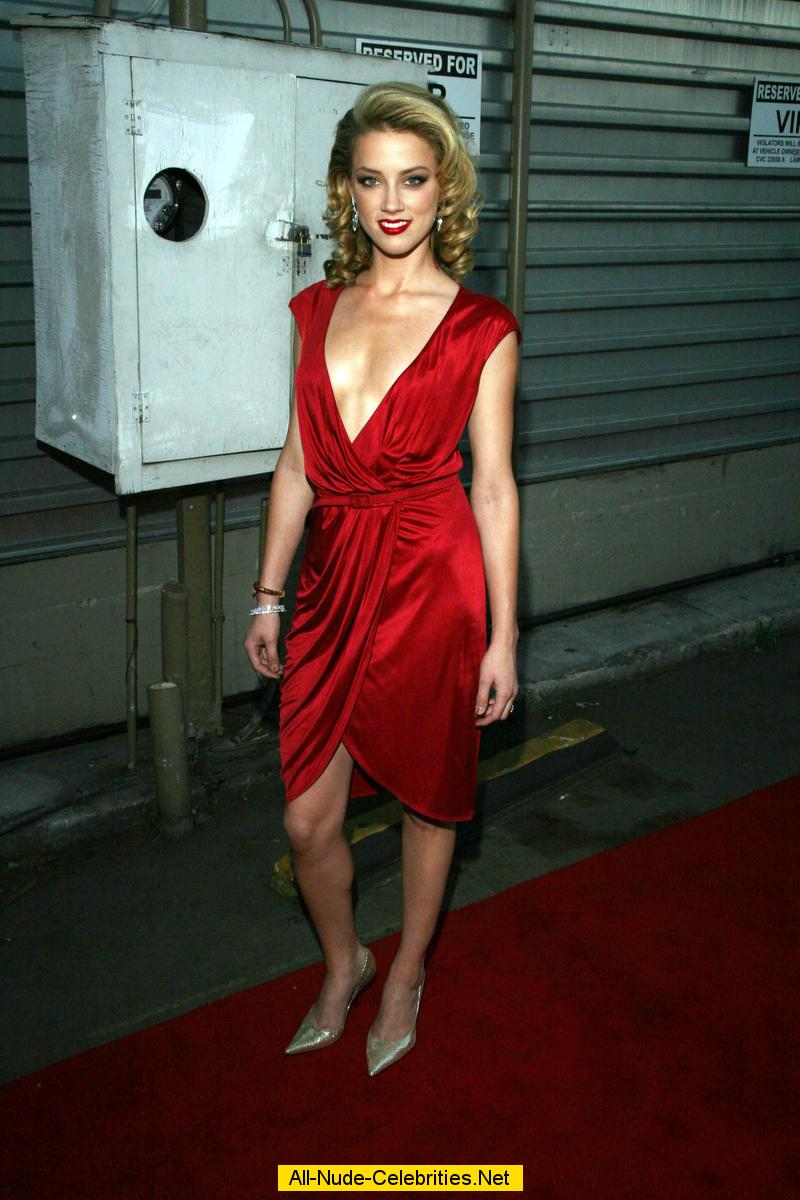 Amber Heard Posing In Red Dress At Young Hollywood Awards-4378