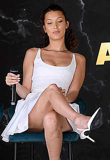 Bella Hadid looking sexy in short white dress