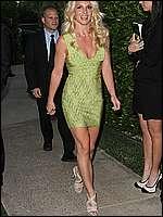 Britney Spears in short green dress paparazzi shots