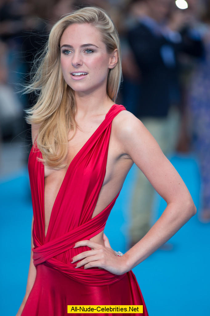 kimberley garner side on boob in red dress at premiere