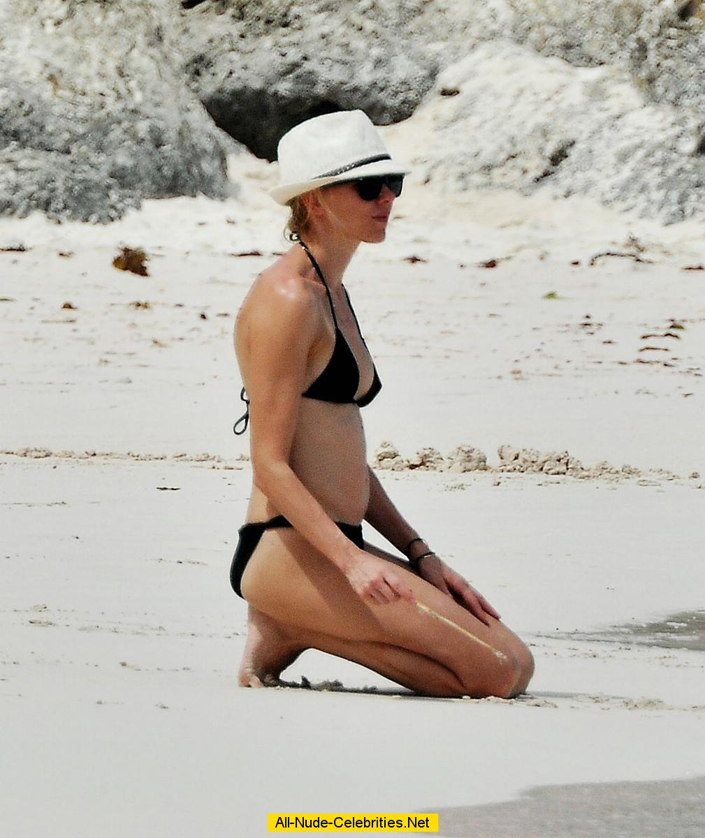 Naomi Watts caught in black bikini on the beach in Barbados Naomi Watts Movies